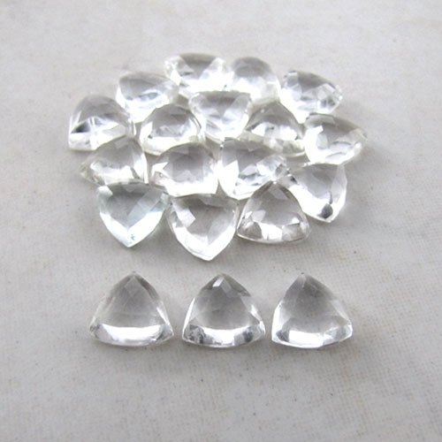 Certified Natural White topaz AAA Quality 8 mm Faceted Trillion 5 pcs Lot