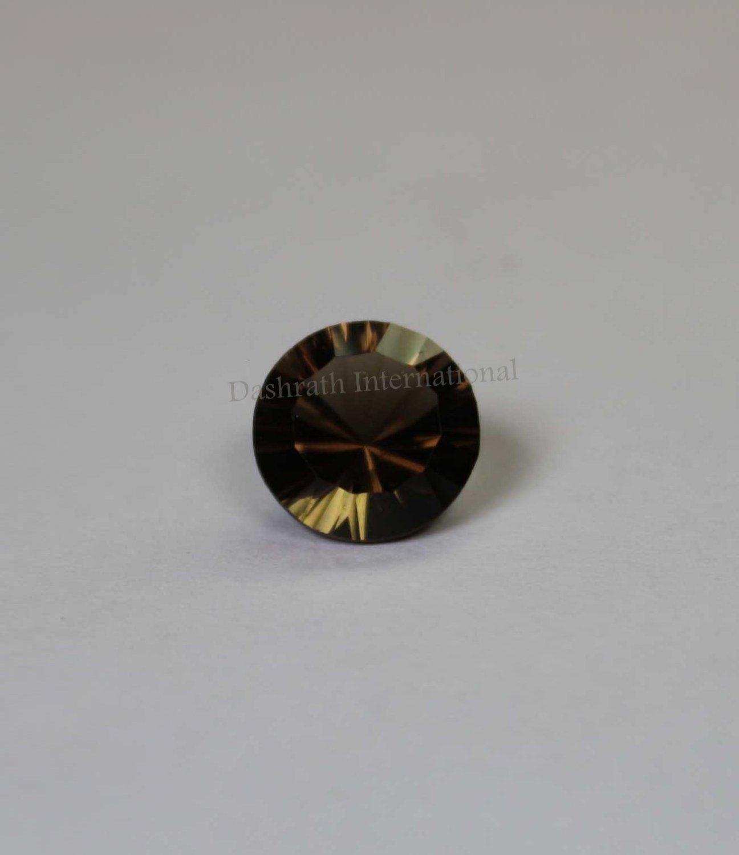 18mmNatural Smoky Quartz Concave Cut Round 1 Piece   (SI) Top Quality  Loose Gemstone