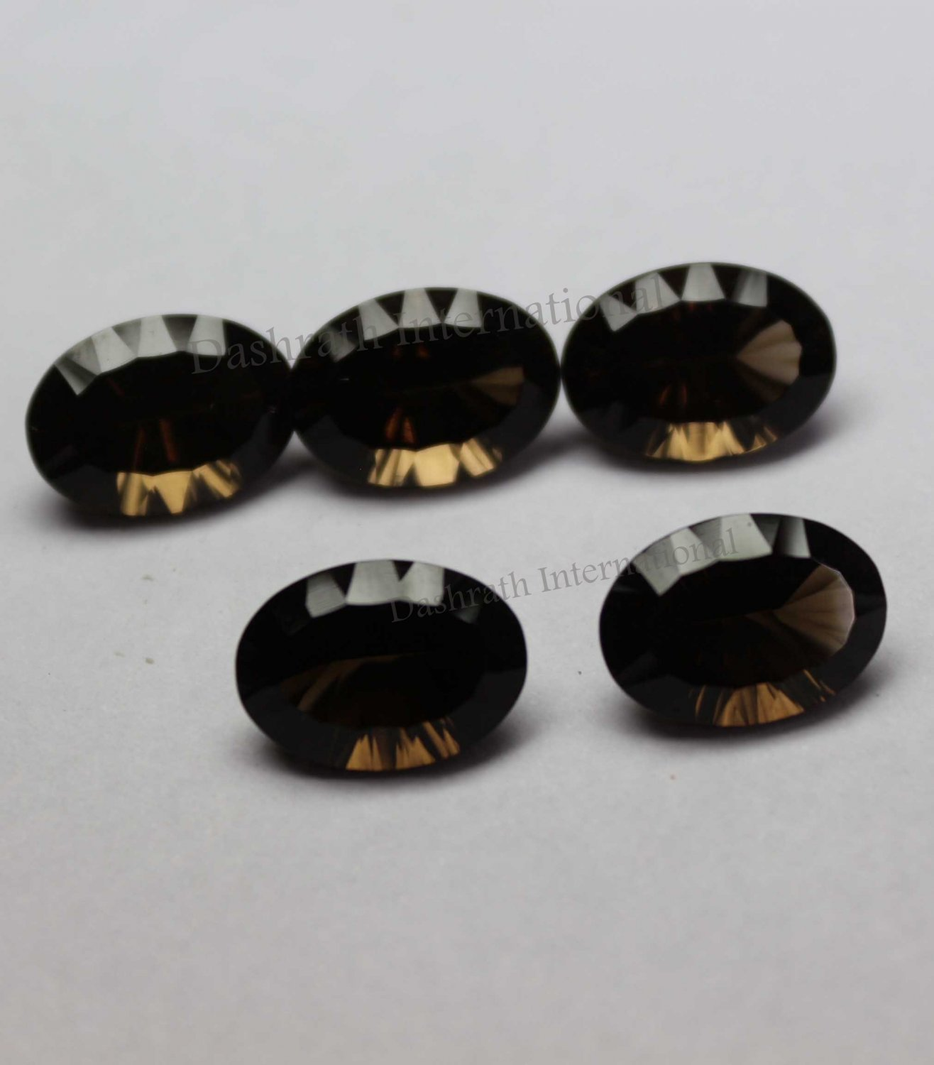 7x9mm Natural Smoky Quartz Concave Cut  Oval 2 Piece (1 Pair)  (SI) Top Quality  Loose Gemstone