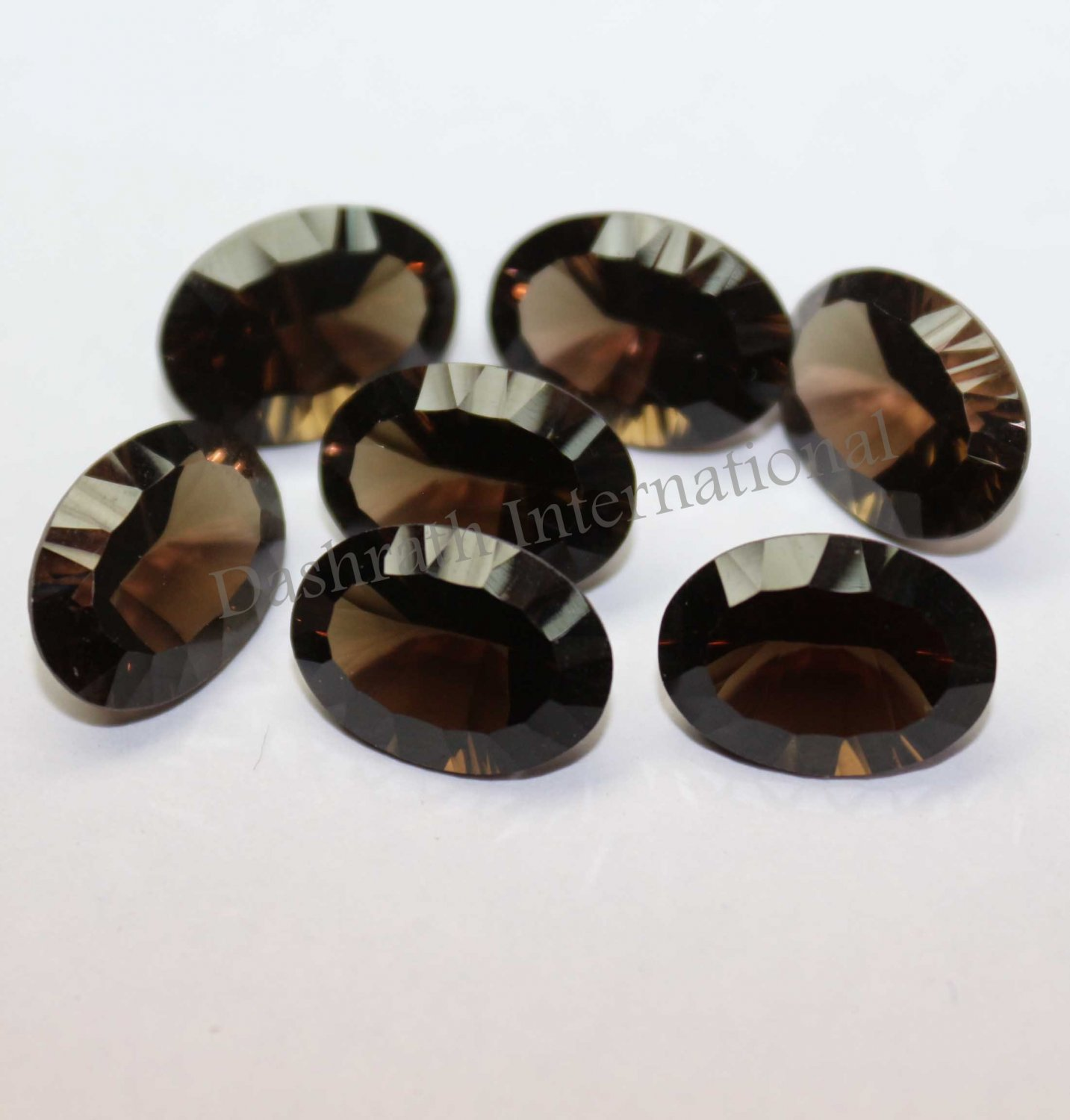 8x10mm Natural Smoky Quartz Concave Cut  Oval 100 Pieces Lot  (SI) Top Quality  Loose Gemstone