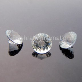 8mmNatural Crystal Quartz Concave Cut Round 2 Piece (1 Pair ) Color White Top Quality Loose Gemstone