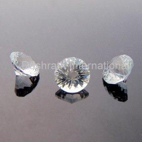 8mm Natural Crystal Quartz Concave Cut Round 50 Pieces Lot Color White  Top Quality Loose Gemstone