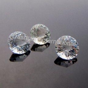 10mmNatural Crystal Quartz Concave Cut Round 2 Piece (1 Pair) Color White Top Quality Loose Gemstone