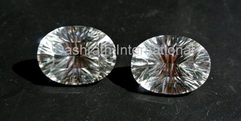 10x12mm    Natural Crystal Quartz Concave Cut  Oval 2 Piece (1 Pair ) Top Quality Loose Gemstone