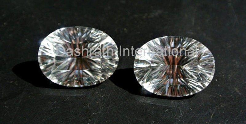 10x12mm    Natural Crystal Quartz Concave Cut  Oval 100 Pieces Lot Top Quality Loose Gemstone