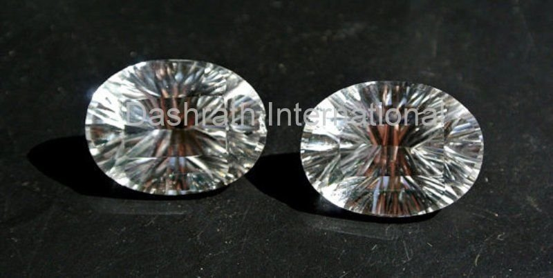 12x16mm  Natural Crystal Quartz Concave Cut  Oval 2 Piece (1 Pair ) Top Quality Loose Gemstone