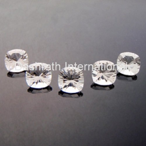 8mm Natural Crystal Quartz Concave Cut Cushion 1 Piece  Top Quality Loose Gemstone