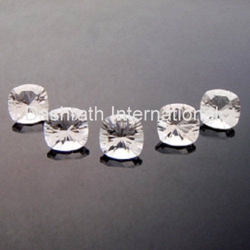 8mm Natural Crystal Quartz Concave Cut Cushion 2 Piece (1 Pair ) Top Quality Loose Gemstone