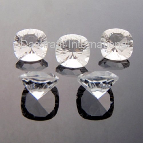 9mm Natural Crystal Quartz Concave Cut Cushion 50 Pieces Lot  Top Quality Loose Gemstone