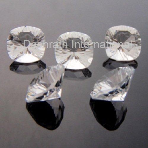 10mm Natural Crystal Quartz Concave Cut Cushion 2 Piece (1 Pair ) Top Quality Loose Gemstone