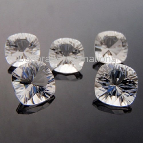 12mm Natural Crystal Quartz Concave Cut Cushion 100 Pieces Lot  Top Quality Loose Gemstone