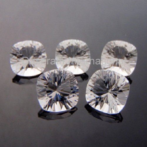 14mm Natural Crystal Quartz Concave Cut Cushion 75 Pieces Lot  Top Quality Loose Gemstone