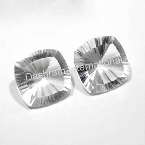 16mm Natural Crystal Quartz Concave Cut Cushion 1 Piece  Top Quality Loose Gemstone