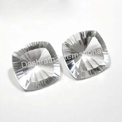 16mm Natural Crystal Quartz Concave Cut Cushion 2 Piece (1 Pair )  Top Quality Loose Gemstone