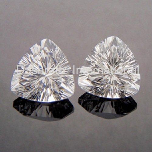 8mm Natural Crystal Quartz Concave Cut Trillion 2 Piece (1 Pair )  Top Quality Loose Gemstone