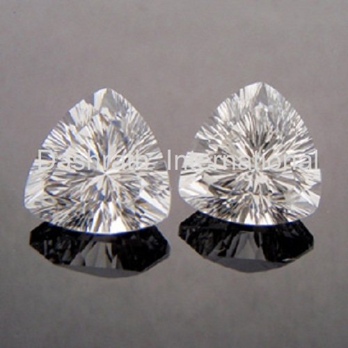9mm Natural Crystal Quartz Concave Cut Trillion 2 Piece (1 Pair )   Top Quality Loose Gemstone
