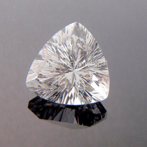 12mm Natural Crystal Quartz Concave Cut Trillion 75 Pieces Lot   Top Quality Loose Gemstone