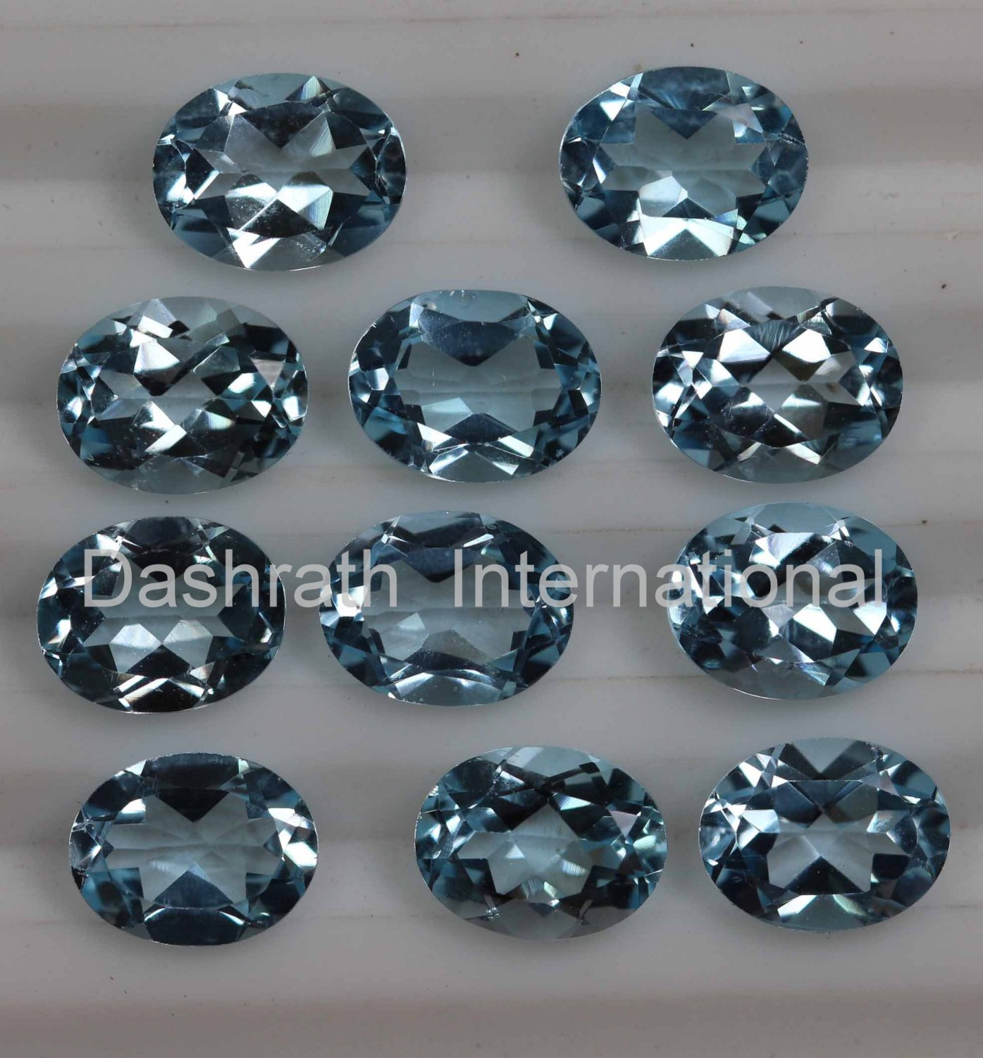 4x6mm Natural Sky Blue Topaz Faceted Cut Oval  2 Piece (1 Pair )  Top Quality Loose Gemstone