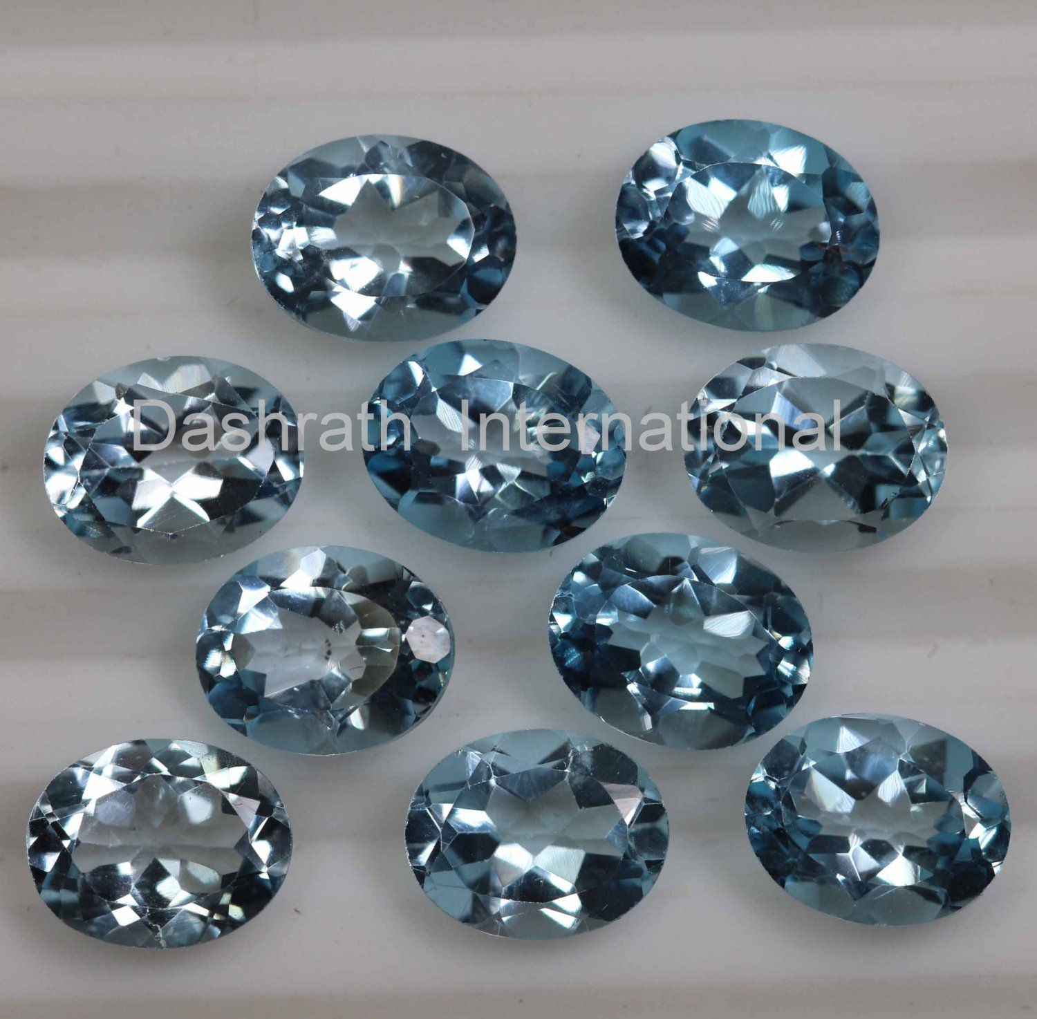 7x5mm Natural Sky Blue Topaz Faceted Cut Oval  2 Piece (1 Pair )  Top Quality Loose Gemstone