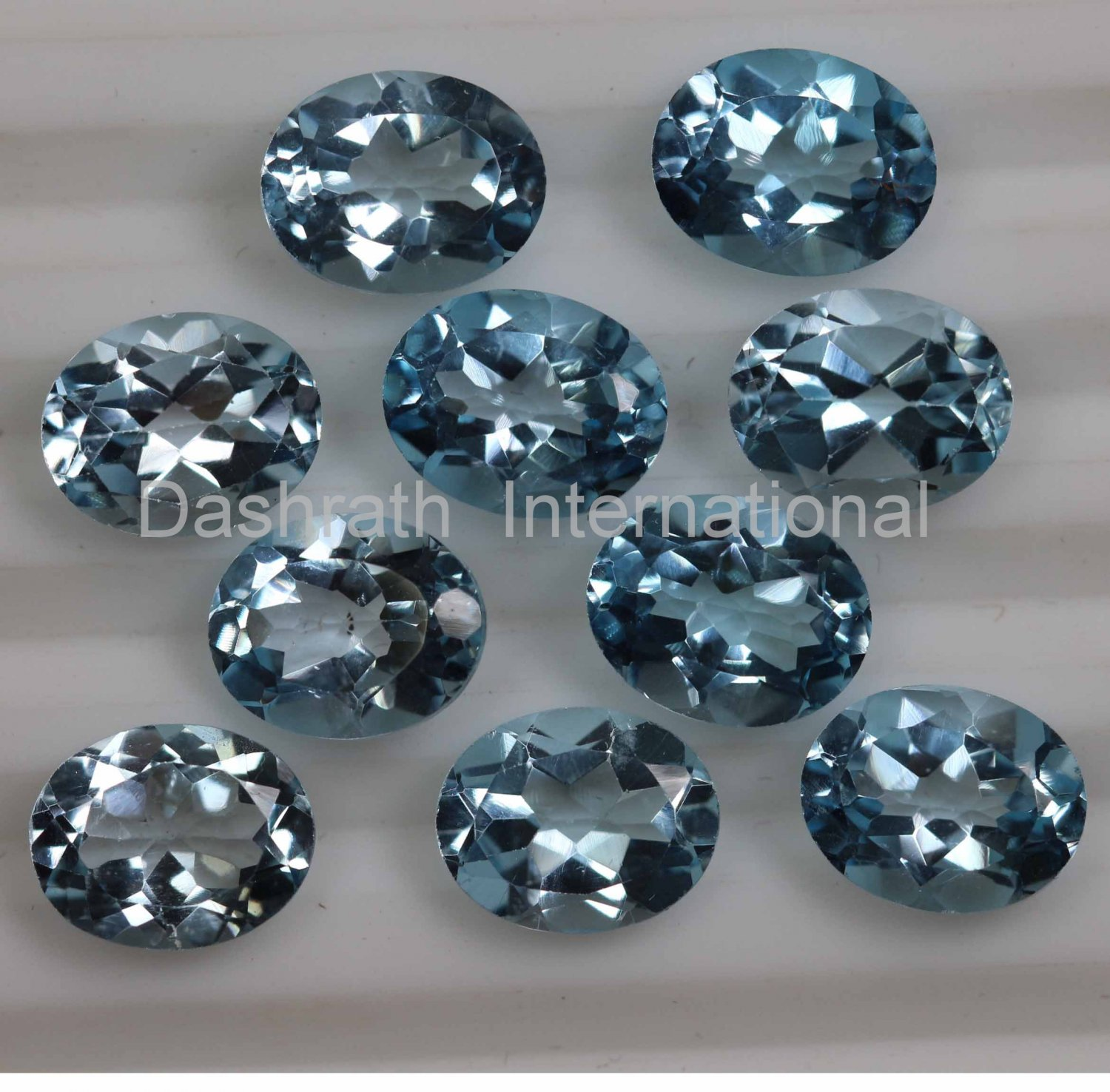 8x6mm  Natural Sky Blue Topaz Faceted Cut Oval  10 Pieces Lot  Top Quality Loose Gemstone