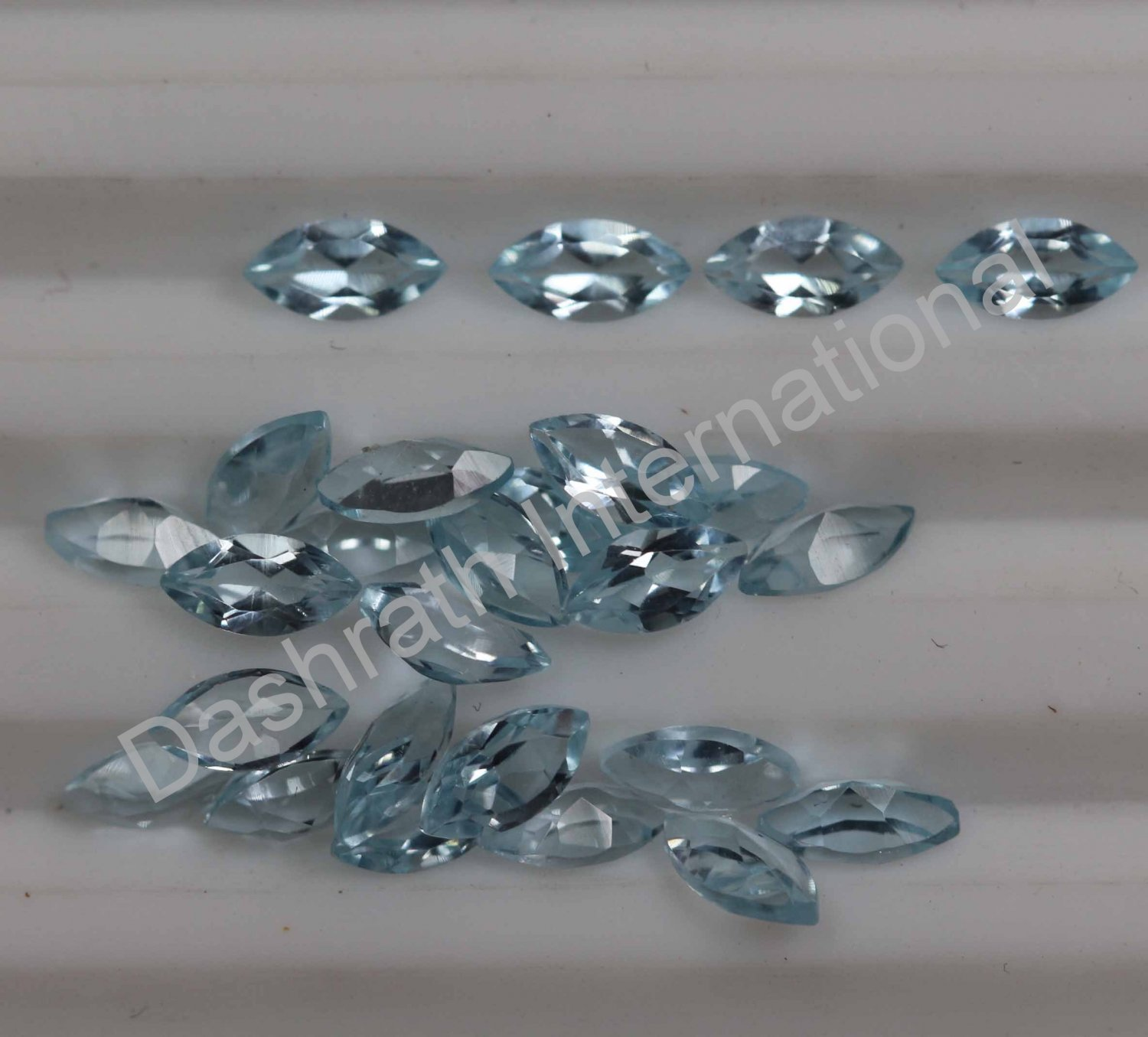 5x10mm Natural Sky Blue Topaz Faceted Cut Marquise 50 Pieces Lot   Top Quality Loose Gemstone
