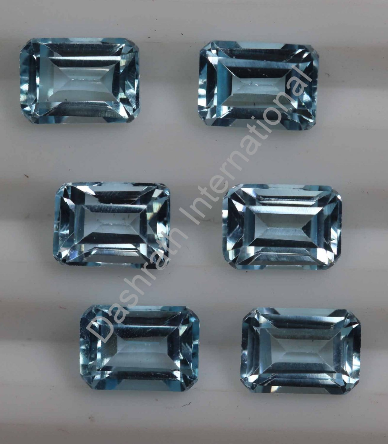 6x8mm Natural Sky Blue Topaz Faceted Cut Octagon 50 Pieces Lot    Top Quality Loose Gemstone