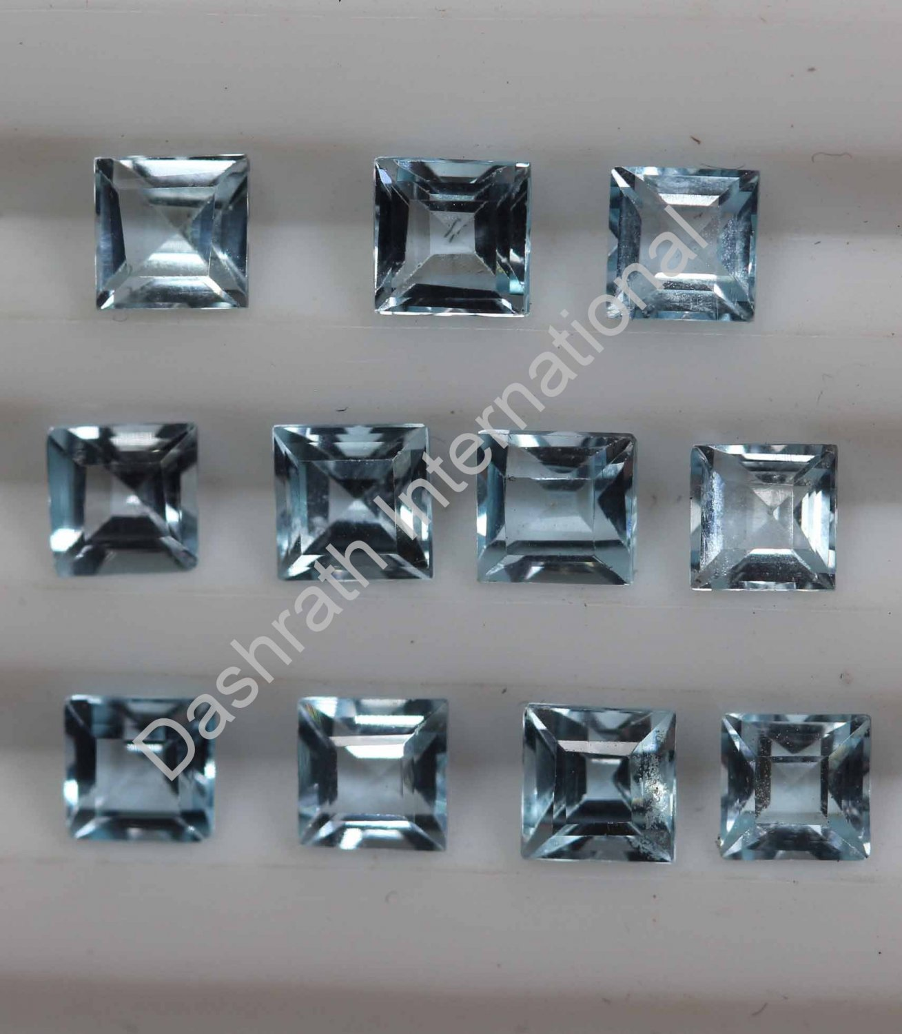 6mm  Natural Sky Blue Topaz Faceted Cut Square 100 Pieces Lot Top Quality Loose Gemstone