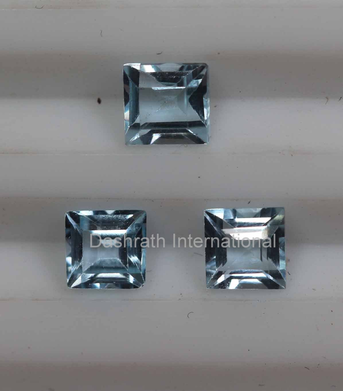 7mm  Natural Sky Blue Topaz Faceted Cut Square 2 Piece (1 Pair ) Top Quality Loose Gemstone