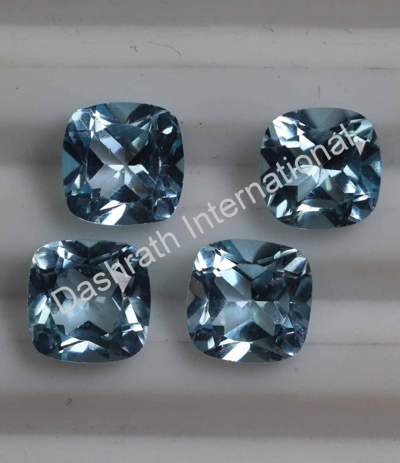 7mm Natural Sky Blue Topaz Faceted Cut Cushion 10 Pieces Lot Top Quality Loose Gemstone