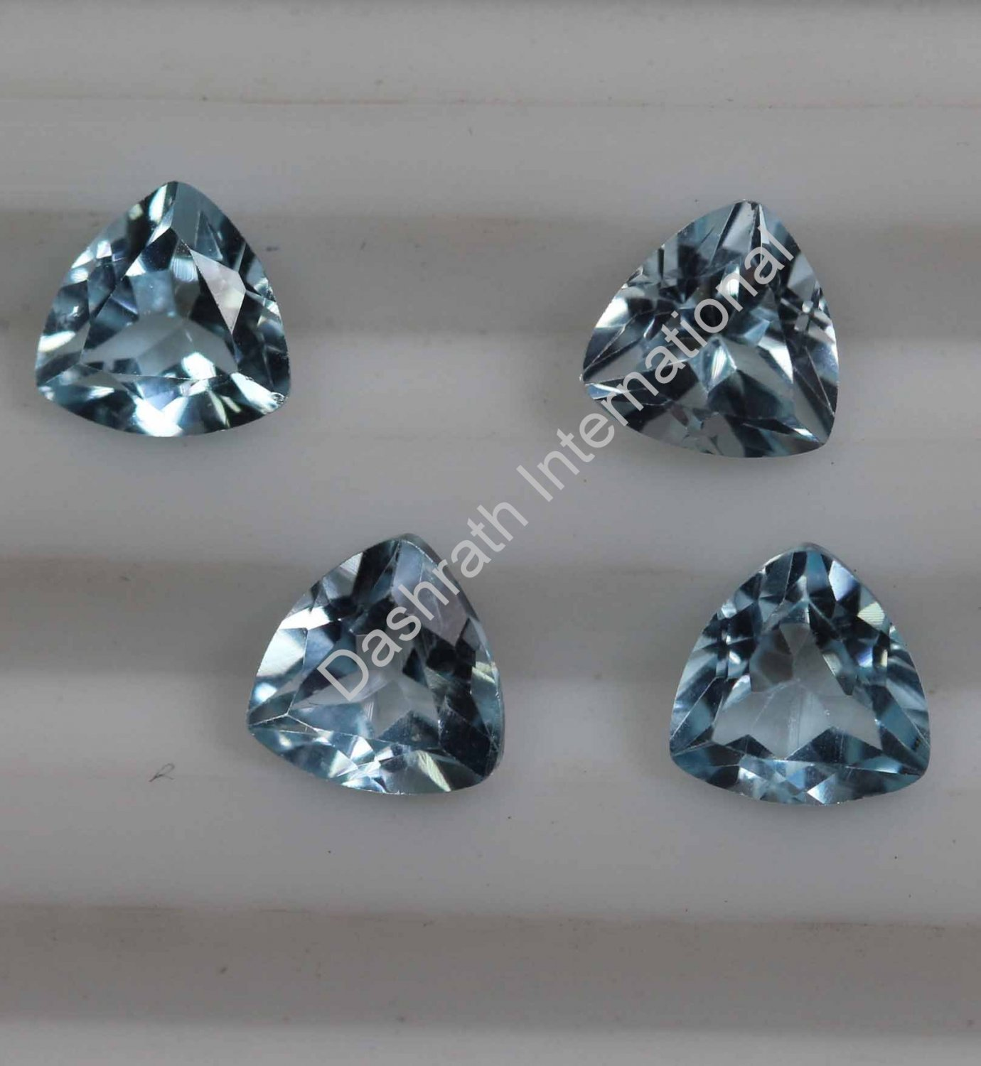 4mm Natural Sky Blue Topaz Faceted Cut Trillion 50 Pieces Lot Top Quality Loose Gemstone