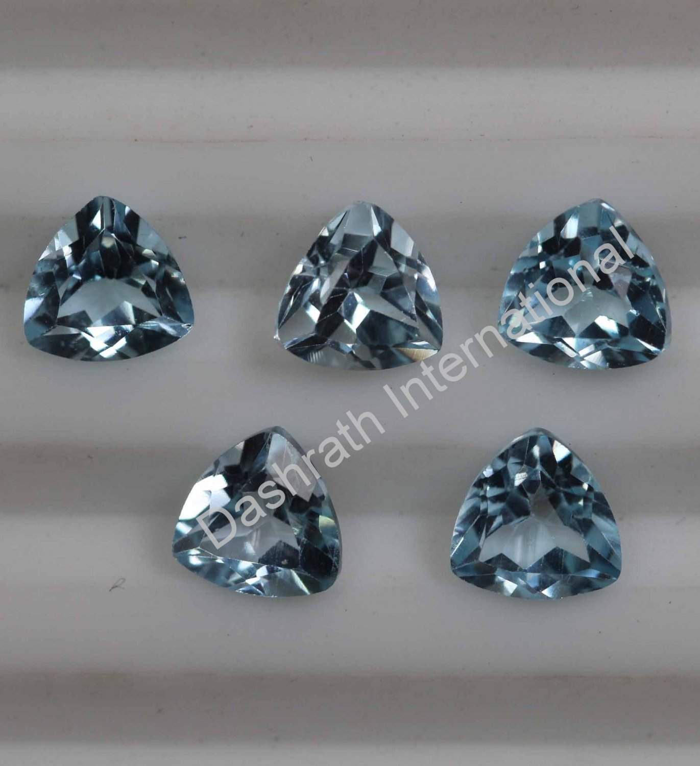 7mm Natural Sky Blue Topaz Faceted Cut Trillion 100 Pieces Lot Top Quality Loose Gemstone