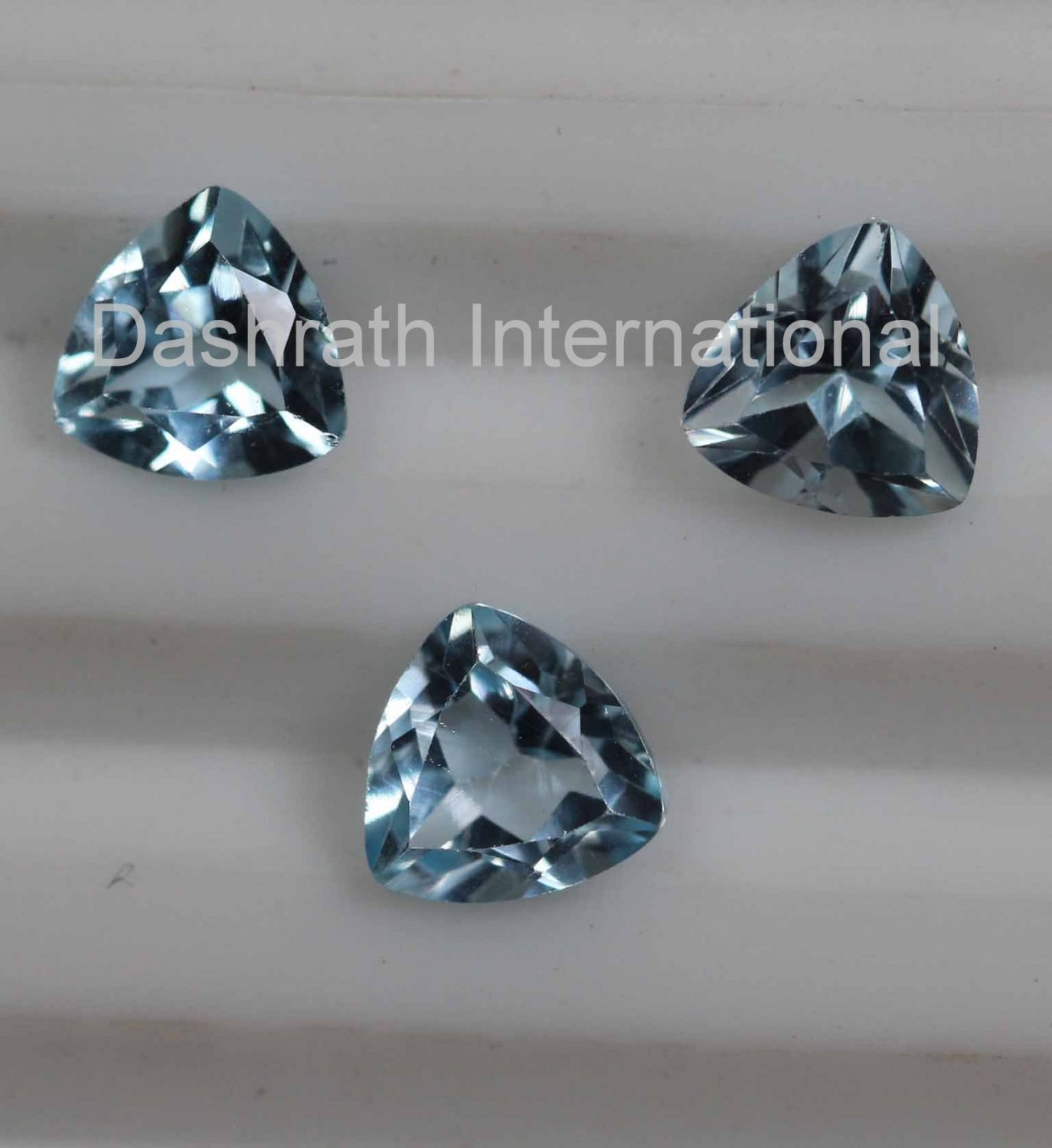 8mm Natural Sky Blue Topaz Faceted Cut Trillion 5 Pieces Lot  Top Quality Loose Gemstone