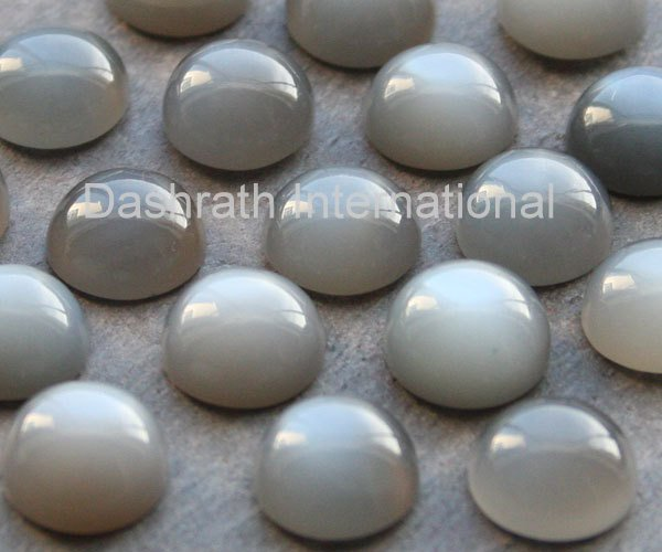 15mm Natural Gray Moonstone Cabochon Round 5 Pieces Lot  Gray Color Top Quality Loose Gemstone