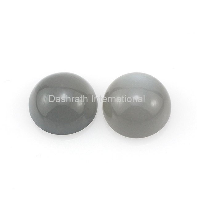 19mm Natural Gray Moonstone Cabochon Round 2 Piece (1 Pair )  Gray Color Top Quality Loose Gemstone