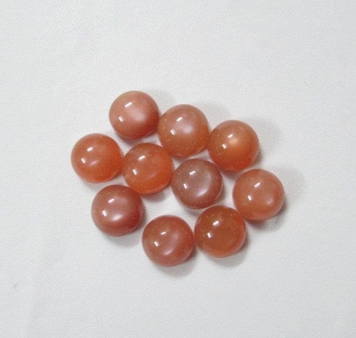 8mm Natural Peach Moonstone Cabochon Round 5 Pieces Lot   Peach Color Top Quality Loose Gemstone
