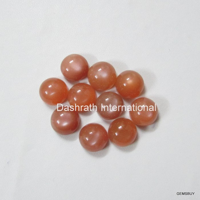 10mm Natural Peach Moonstone Cabochon Round 5 Pieces Lot  Peach Color Top Quality Loose Gemstone