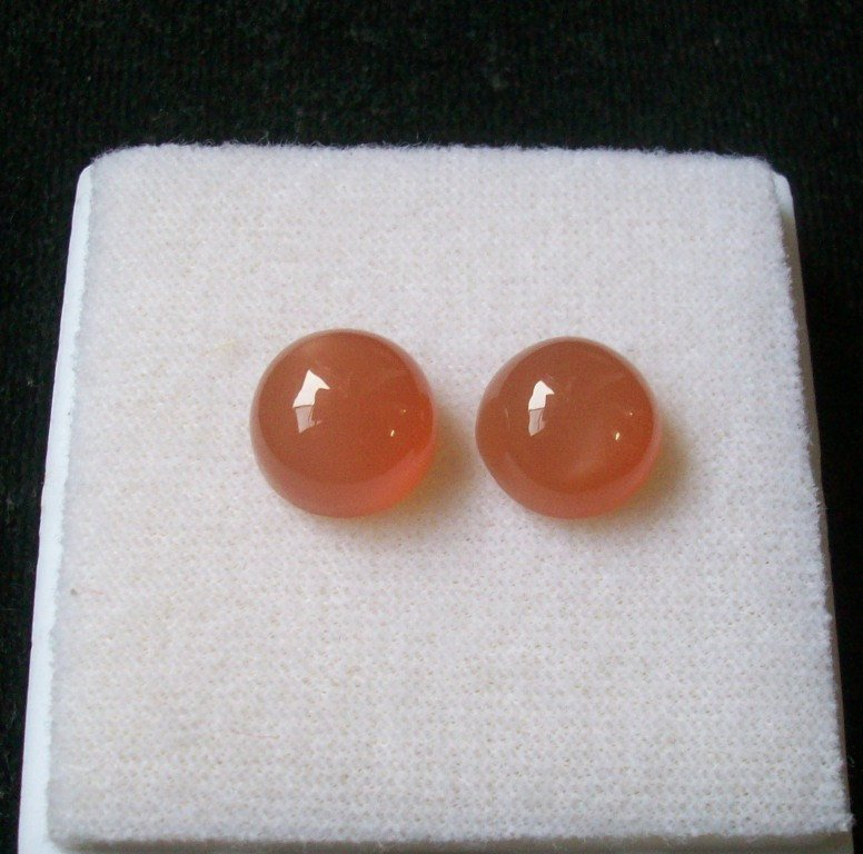 12mm Natural Peach Moonstone Cabochon Round 2 Piece (1 Pair ) Peach Color Top Quality Loose Gemstone