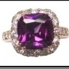 Three Carat Square Cut Amethyst  AAA+ Russian Cubic Zirconia Ring LR-168