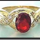 Oval Cut  Ruby Red AAA+ Russian Cubic Zirconia Ring LR-33C