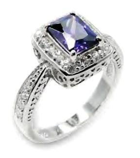 Sterling Silver Vintage Style Russian CZ Amethyst Ring! 6x196