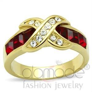 """""""Hugs"""" Ring Austrian Crystal Siam Red Clear Accents GL007"""