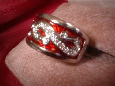 Royal Red Enamel And Swarovski Crystal Oriental Ring 20802
