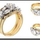 Artistic Three Ring Wedding Set 34616