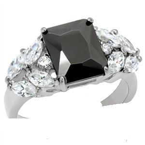3 Carat Jet Black Emerald Cut Ring TK182