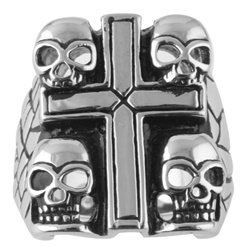 Skulls Cross Steel Ring SR-388