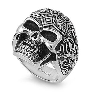 Carved Skull Steel Ring SR-787