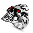 Skull Glowing Red CZ Eyes Steel Ring SR-569