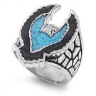 Eagle Biker Turquoise Stainless Steel Ring SR-298
