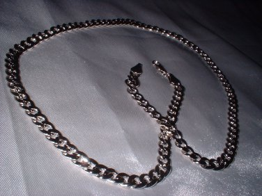 22 Inch  Rhodium Layered Curb Chain 38J