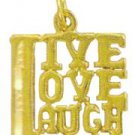 """Live - Love - Laugh"" Pendant In Gold Or Rhodium w-128"